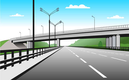 Overpass. Road Junction. The Road Goes Under The Bridge. Elevated Road. Stylized Vector Image. 일러스트