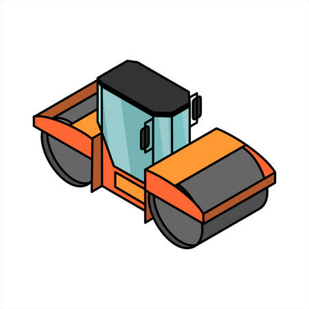 vector isometric road roller; 3D road equipment