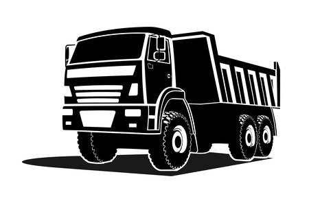 grande silhouette de camion à benne basculante, logo. Vue de trois quarts.