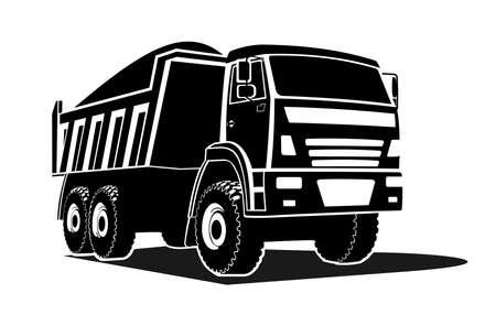 big dump truck silhouette, logo. The dump truck is carrying cargo. Three quarter view.
