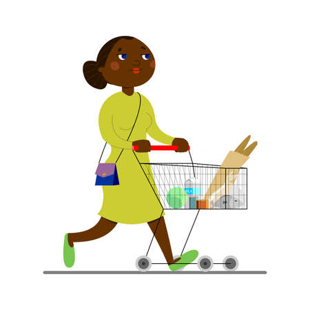 Young african american woman carrying a cart with groceries. Mom walks around the store, buys groceries, food. Dark-skinned woman in a dress with a handbag.