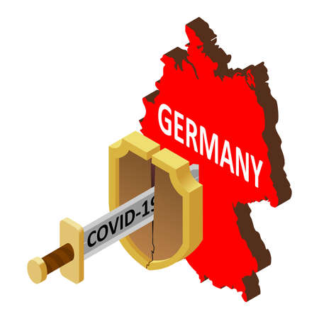 the concept of coronavirus in Germany, there is no protection against 2019-nCov, covid-19, pandemic, infection. Vector map of Germany, a broken shield, a sword with the inscription covid-19