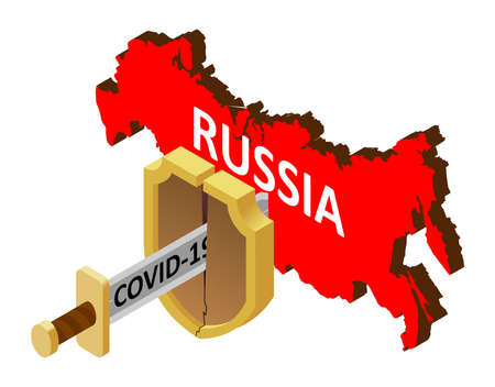 the concept of coronavirus in Russia, there is no protection against 2019-nCov, covid-19, pandemic, infection. Vector map of Russia, a broken shield, a sword with the inscription covid-19 向量圖像