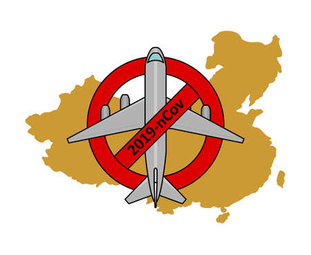 flight ban to China, from China due to coronavirus, 2019-nCov, covid-19. Airplane in prohibition sign, against the background of the map of China Иллюстрация