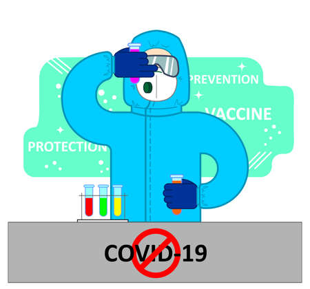 coronavirus vaccine concept, covid-19, 2019-ncov. A man in protective clothing, glasses, a mask, a respirator holds test tubes in his hands; vaccine, protection, prevention Ilustração