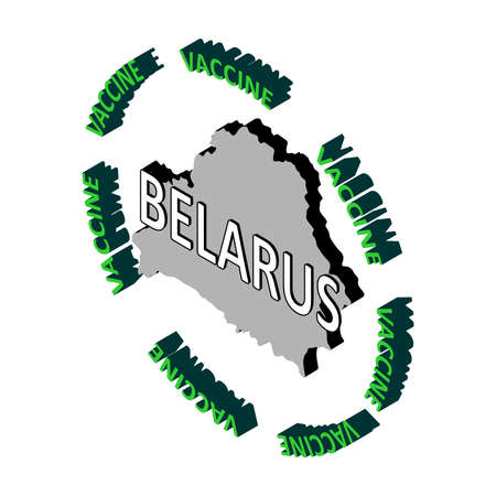 The concept of protecting the country's population from coronavirus, a vaccine against coronavirus, covid-19. Vector isometric map of Belarus surrounded by the word vaccine. Vaccine saves