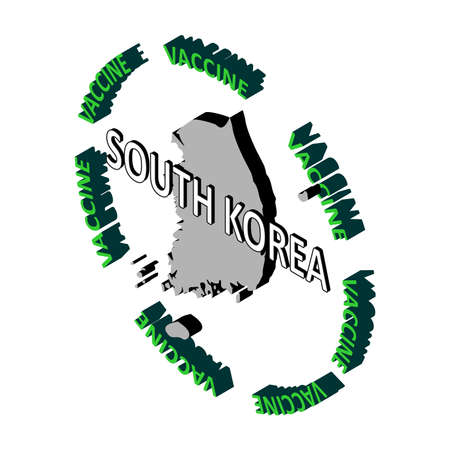 The concept of protecting the country's population from coronavirus, a vaccine against coronavirus, covid-19. Vector isometric map of South Korea surrounded by the word vaccine. Vaccine saves Vektoros illusztráció