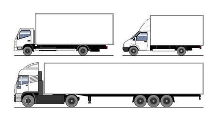 Vector set of different trucks, semitrailer. White blank template truck for advertising, for coloring books. Freight transportation. Modern flat vector illustration isolated on white background. Vettoriali