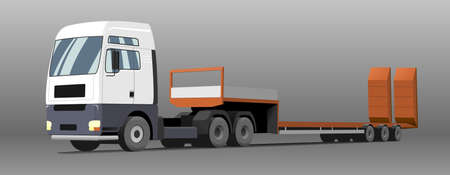 Vector truck; tractor, low loader trawl for transportation of road equipment, tractors, graders, scrapers, bulldozers. Isolated on a gray background.