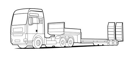 Vector truck; outline, contour tractor, low loader trawl for transportation of road equipment, tractors, graders, scrapers, bulldozers. For coloring book. 일러스트