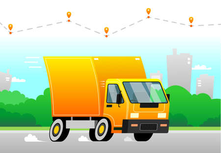 Vector truck delivers an order very fast. High speed, dust from under the wheels. Above the truck delivery route with delivery icons. City and trees in the background. Stockfoto - 147206571