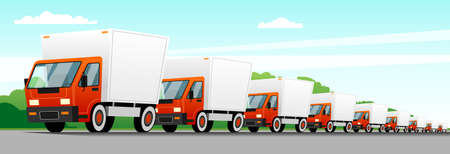 A column of trucks moving along a suburban highway, delivering goods. Forest and sky in the background. Modern flat vector image.