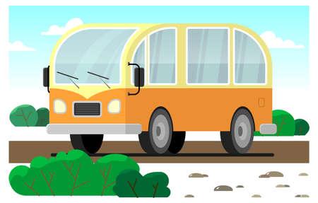 stylized retro minivan rides on the road; yellow-orange minivan.
