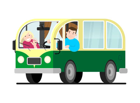 Family travel on a minivan; a man drives a car, a woman waves her hand. Happy cartoon people in a retro minivan. Road trip, summer vacation, vector illustration