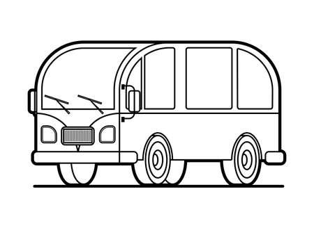 contour minivan for coloring book page; stylized retro minivan Vectores