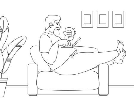Vector outline, contour fat man sitting on a sofa with a laptop on his stomach, eating a donut. The concept of a sedentary lifestyle, obesity, work at home, isolation. For coloring book page.