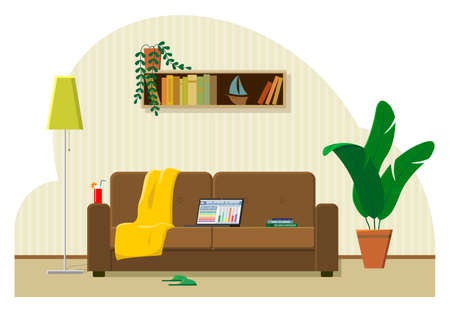 The concept of work from home, remote work. Laptop on the couch, the most comfortable workplace. Cocktail, plaid, books, slippers. Modern flat vector image.