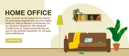 The concept of work from home, remote work. Laptop on the couch, the most comfortable workplace. Cocktail, plaid, books, slippers. Logo header, web banner. Modern flat vector image.
