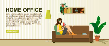 Girl sitting on a sofa with a tablet. Home office, remote work from home; For backgrounds, infographics. Freelance, online education or social media concept. Flat style modern vector illustration.