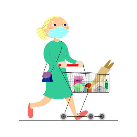 young woman carries a cart with groceries. Mom walks around the store, buys groceries, food. Blonde in a dress with a handbag. Ilustracja