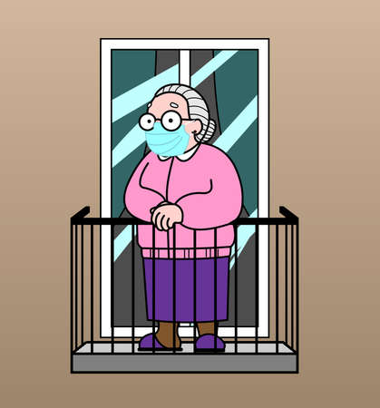 Vector image of an old woman on the balcony. Good old grandmother. Elderly woman, senile people concept.