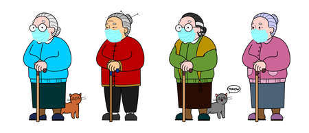 Vector set Image Of An Asian, Chinese, Korean, Mongolian, Vietnamese Old Woman With A Cane. Elderly Woman in trousers, Senile People Concept. Isolated On A White Background. 일러스트