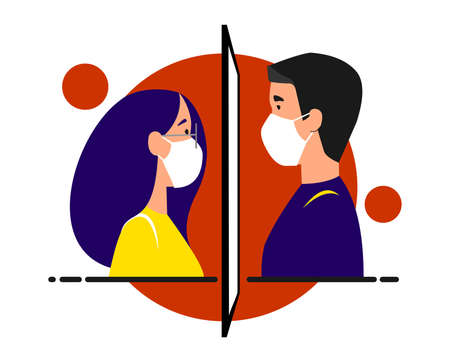 A girl and a guy in medical masks are standing opposite each other, between them is a glass, a window. Separated due to coronavirus. Stay home, quarantine, isolation concept. Vector image. Vector Illustration