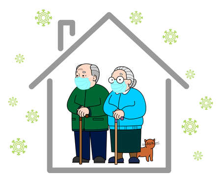 Quarantine concept. An elderly European man and woman in medical masks remain at home, observe quarantine. Fair-skinned elderly married couple. Grandpa and Grandma. Coronavirus, 2019-nCov, Covid-19. 일러스트