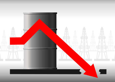 Vector oil crisis concept. The fall in oil prices, fuel. The red arrow of the graph against the background of the barrel falls below the possible, below zero. Background from oil derricks.