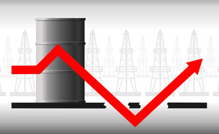The concept of the oil crisis. The fall in oil prices, fuel. The red arrow of the graph against the background of the barrel falls below the possible, below zero and again goes up.