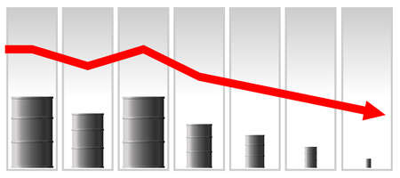 The concept of the oil crisis. The fall in oil prices, fuel. The red arrow of the graph goes down. Barrel schedule.