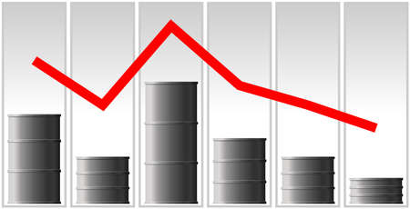 The concept of the oil crisis. The fall in oil prices, fuel. The red line of the chart goes down. Barrel schedule.