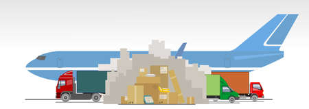 Delayed delivery of goods, parcels, packages, online purchases from China due to coronavirus, 2019-nCov, covid-19. Poor mail, delivery interruptions. Mountains of unsent boxes, trucks, airplane. Prohibition sign