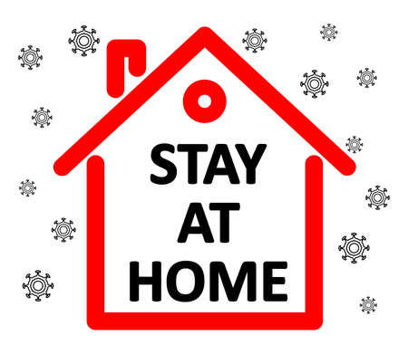 Quarantine concept. Stay at home. Coronavirus outside, 2019-nCov, Covid-19. Иллюстрация