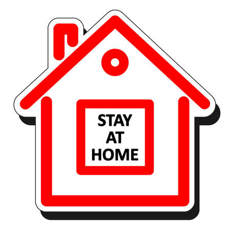 Quarantine concept. Sticker in the form of a house with the words Stay at home. Coronavirus, 2019-nCov, Covid-19.