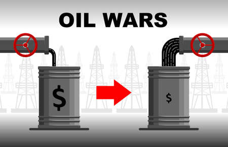 oil crisis concept. Decrease or increase in oil and hydrocarbon production. Expensive or cheap oil. Oil pours into a barrel from a pipe. Oil war.