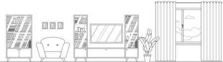 Vector contour living room interior with furniture. Comfortable chair, bookcase, TV, houseplant, window. For coloring book. Flat style vector illustration.