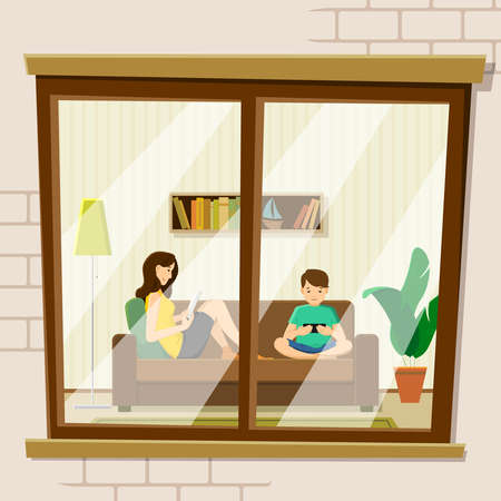 The concept of human life, vector. Exterior wall of the house with a window in which people. Mom and son are sitting on the couch, reading, playing games on a smartphone.