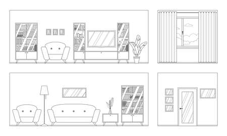 Vector outline panorama of the living room interior with furniture; room scan. Four walls; window, door, comfortable sofa, armchairs, bookcase, TV. For coloring book. Flat style vector illustration.