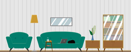 Vector living room interior with furniture. Comfortable chair, laptop on the couch, working from home, bookcase, houseplant, lamp, coffee table, cat. Flat style vector illustration. 向量圖像