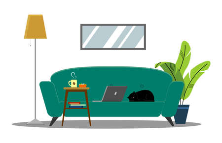 Vector comfortable sofa on a white background. Isolated green or blue couch in the interior. Work from home; laptop on the couch, coffee table, home workspace. Cartoon flat style vector illustration. 向量圖像