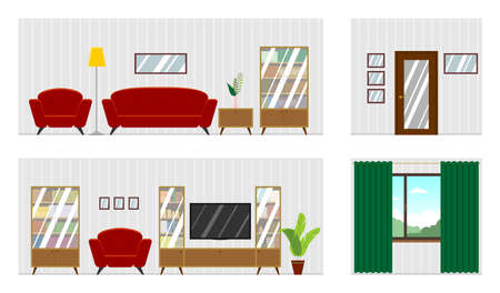 Vector panorama of the living room interior with furniture; room scan. Four walls; window, door, comfortable sofa, armchairs, bookcase, TV, houseplant. Flat style vector illustration. 向量圖像