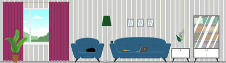 Vector living room interior with furniture. Comfortable sofa, chair, bookcase, houseplant, window, paintings, photographs on the walls. Flat style vector illustration.