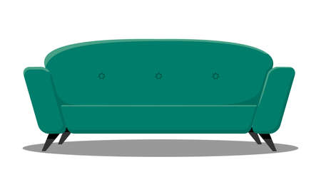 Vector comfortable sofa on white background. Isolated green or blue couch lounge in interior. Cartoon flat style vector illustration.