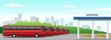 Vector bus station, intercity buses on the background of the cityscape in the distance. Modern flat vector illustration for banner, poster, flyer or landing page