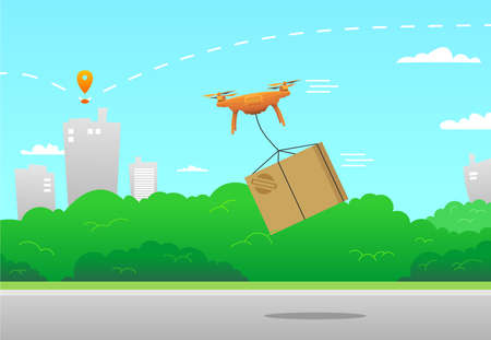 Vector concept of contactless delivery of products, parcels, goods. Quadrocopter, drone delivers the order boxes. Against the background of the city landscape. Modern flat vector image.