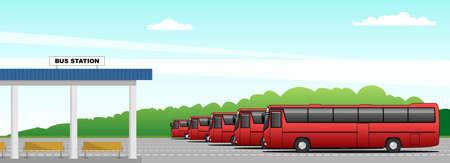 Vector bus station, intercity buses. Modern flat vector illustration for banner, poster, flyer or landing page Stock Illustratie