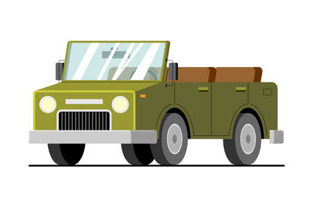 Vector army SUV; cars for travel, tourism. Car without a roof, cabriolet in cartoon style. Modern flat windy illustration, isolated on white background.