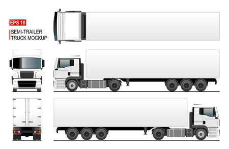 Semi trailer truck vector mockup or template for car branding and advertising. Isolated lorry, blank space. Cargo vehicle set on white background. View from side, front, back, top. Vector EPS-10.