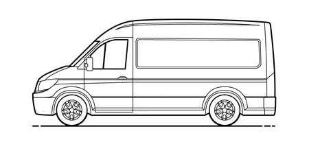 contour delivery van vector. Cargo van for coloring book. Vector Cargo Minivan Isolated on white background. Driver's side door.